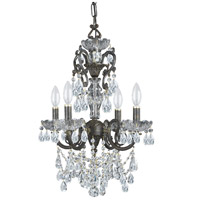 Crystorama Legacy 4 Light Mini Chandelier in English Bronze, Italian Crystals 5194-EB-CL-I