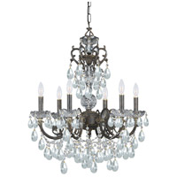 Crystorama Legacy 6 Light Chandelier in English Bronze, Italian Crystals 5196-EB-CL-I