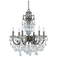 Crystorama Legacy 6 Light Chandelier in English Bronze, Swarovski Spectra 5196-EB-CL-SAQ