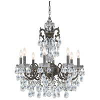 Crystorama Legacy 8 Light Chandelier in English Bronze, Italian Crystals 5198-EB-CL-I