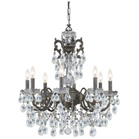 Crystorama Legacy 8 Light Chandelier in English Bronze with Swarovski Spectra Crystals 5198-EB-CL-SAQ