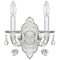 Crystorama Sutton 2 Light Wall Sconce in Antique White 5200-AW-CLEAR