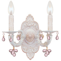 Crystorama Sutton 2 Light Wall Sconce in Antique White 5200-AW-ROSA