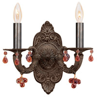 Crystorama Sutton 2 Light Wall Sconce in Venetian Bronze with Murano Crystals 5200-VB-AMBER
