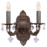 Crystorama Sutton 2 Light Wall Sconce in Venetian Bronze with Murano Crystals 5200-VB-CLEAR