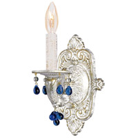 Crystorama Sutton 1 Light Wall Sconce in Antique White with Murano Crystals 5201-AW-BLUE