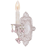 Crystorama Sutton 1 Light Wall Sconce in Antique White with Murano Crystals 5201-AW-ROSA