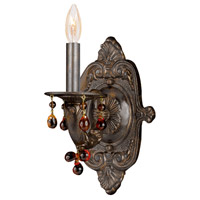 Crystorama Sutton 1 Light Wall Sconce in Venetian Bronze with Murano Crystals 5201-VB-AMBER