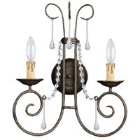 Crystorama Soho 2 Light Wall Sconce in Dark Rust with Hand Cut Crystals 5202-DR-CL-MWP