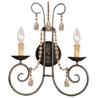 Crystorama Soho 2 Light Wall Sconce in Dark Rust with Hand Cut Crystals 5202-DR-GT-MWP