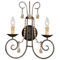 Crystorama SOHO 2 Light Wall Sconce in Dark Rust, Golden Teak, Swarovski Elements 5202-DR-GTS