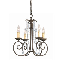 Crystorama Soho 4 Light Mini Chandelier in Dark Rust 5204-DR-CL-SAQ