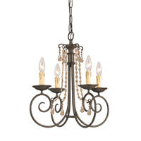 Crystorama SOHO 4 Light Mini Chandelier in Dark Rust, Golden Teak, Hand Cut 5204-DR-GT-MWP