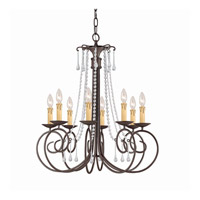 SOHO 8 Light 26 inch Dark Rust Chandelier Ceiling Light in Hand Cut, Clear Crystal (CL)