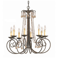 SOHO 8 Light 28 inch Dark Rust Chandelier Ceiling Light in Golden Teak (GT), Hand Cut