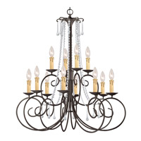 Crystorama SOHO 12 Light Chandelier in Dark Rust, Swarovski Spectra 5212-DR-CL-SAQ