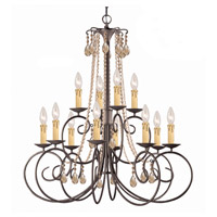 Crystorama SOHO 12 Light Chandelier in Dark Rust, Golden Teak, Hand Cut 5212-DR-GT-MWP