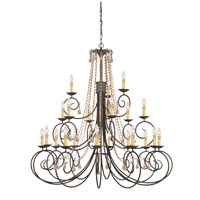 Crystorama SOHO 21 Light Chandelier in Dark Rust, Golden Teak, Hand Cut 5219-DR-GT-MWP