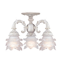 Crystorama Paris Flea Market 3 Light Semi-Flush Mount in Antique White 5223-AW