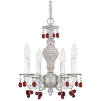 Crystorama 5224-AW-AMBER Paris Market 4 Light 14 inch Antique White Mini Chandelier Ceiling Light in Amber