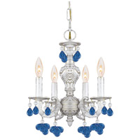 Crystorama Sutton 4 Light Chandelier in Antique White with Murano Crystals 5224-AW-BLUE