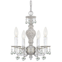 Crystorama 5224-AW-CLEAR Paris Market 4 Light 14 inch Antique White Mini Chandelier Ceiling Light in Clear Crystal