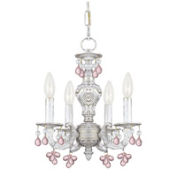 Crystorama Sutton 4 Light Chandelier in Antique White with Murano Crystals 5224-AW-ROSA