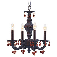 Crystorama Sutton 4 Light Chandelier in Venetian Bronze with Murano Crystals 5224-VB-AMBER