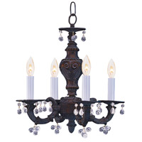 Crystorama Paris Market 4 Light Mini Chandelier in Venetian Bronze, Clear Crystal 5224-VB-CLEAR