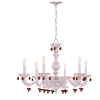 Crystorama Sutton 6 Light Chandelier in Antique White with Murano Crystals 5226-AW-AMBER