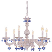 Crystorama Paris Market 6 Light Chandelier in Antique White 5226-AW-BLUE
