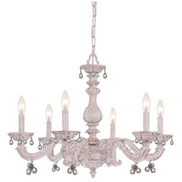 Crystorama Sutton 6 Light Chandelier in Antique White with Murano Crystals 5226-AW-CLEAR