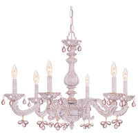 Crystorama Sutton 6 Light Chandelier in Antique White with Murano Crystals 5226-AW-ROSA