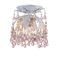 Crystorama Melrose 1 Light Semi-Flush Mount in Antique White with Murano Crystals 5230-AW-ROSA