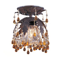 Crystorama Melrose 1 Light Semi-Flush Mount in Dark Rust with Murano Crystals 5230-DR-AMBER