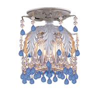 Crystorama Melrose 1 Light Semi-Flush Mount in Silver Leaf with Murano Crystals 5230-SL-BLUE