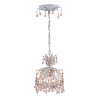 Crystorama Melrose 1 Light Pendant in Antique White with Murano Crystals 5235-AW-ROSA