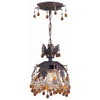 Crystorama Melrose 1 Light Semi-Flush Mount in Dark Rust with Murano Crystals 5235-DR-AMBER