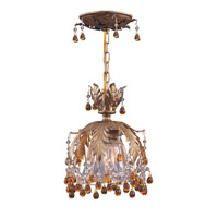 Crystorama Lighting Melrose 1 Light Semi-Flush Mount in Gold Leaf & Murano Crystal - Amber 5235-GL-AMBER photo thumbnail