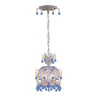Crystorama Paris Flea Market 3 Light Semi-Flush Mount in Silver Leaf with Murano Crystals 5235-SL-BLUE