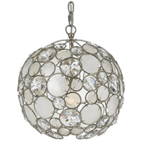 Palla 1 Light 13 inch Antique Silver Mini Chandelier Ceiling Light in Hand Cut, Antique Silver (SA)