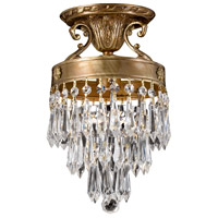 Regal 1 Light 7 inch Aged Brass Semi Flush Mount Ceiling Light in Clear Crystal (CL), Hand Cut, Aged Brass (AG)