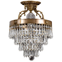 Regal 3 Light 12 inch Aged Brass Semi Flush Mount Ceiling Light in Clear Crystal (CL), Hand Cut, Aged Brass (AG)