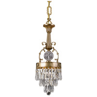 Crystorama Regal 1 Light Pendant in Aged Brass, Clear Crystal, Hand Cut 5275-AG-CL-MWP