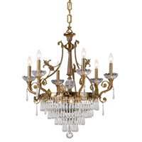 Crystorama Regal 6 Light Chandelier in Aged Brass with Hand Cut Crystals 5276-AG-CL-MWP