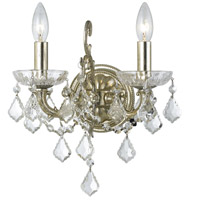 Crystorama 5282-OS-CL-SAQ Highland Park 2 Light 13 inch Olde Silver Wall Sconce Wall Light in Swarovski Spectra (SAQ)