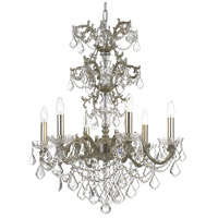 Highland Park 6 Light 25 inch Olde Silver Chandelier Ceiling Light in Clear Swarovski Strass