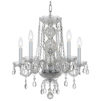 Traditional Crystal 5 Light 18 inch Polished Chrome Mini Chandelier Ceiling Light