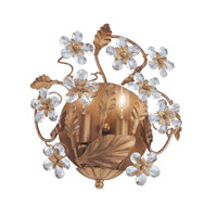 Crystorama Abbie 2 Light Wall Sconce in Gold Leaf with Hand Polished Crystals 5302-GL
