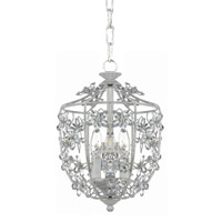 Crystorama Abbie 3 Light Hanging Lantern in Antique White with Hand Polished Crystals 5303-AW